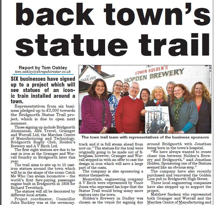 Statue Trail Backed by AV Birch